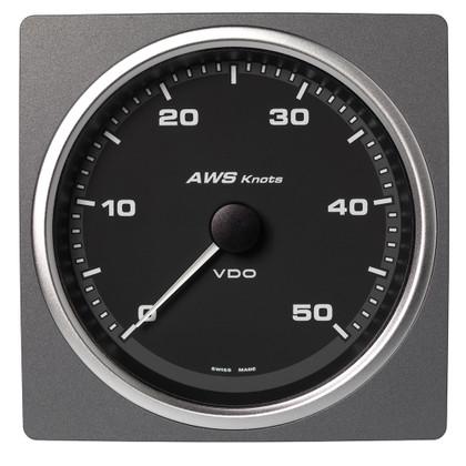 "Veratron 4-3/8"" (110mm) AcquaLink Apparent Wind Angle 0-50 Knots - 12/24V - Black Dial & Bezel"