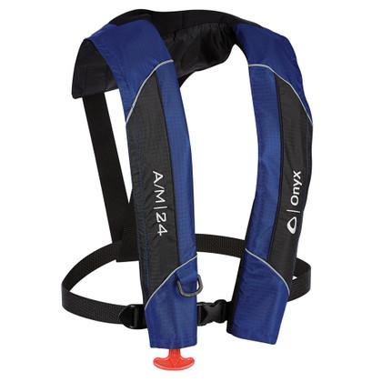 Onyx A/M-24 Automatic/Manual Inflatable PFD Life Jacket - Blue