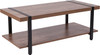 Beacon Hill Rustic Wood Grain Finish Coffee Table with Black Metal Legs