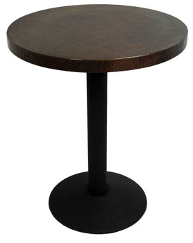 Round Copper Bar Height Table with Cast Disc Base
