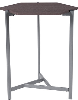 Back Bay Rustic Wood Grain Finish End Table with Silver Metal Frame