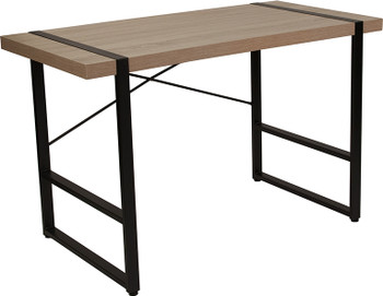 Hanover Park Rustic Wood Grain Finish Console Table with Black Metal Frame