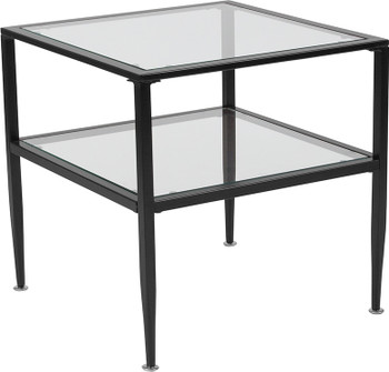 Newport Collection Glass End Table with Black Metal Frame