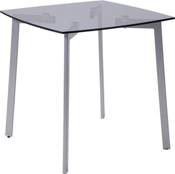 Brighton Collection Smoked Glass Side Table with Silver Metal Legs