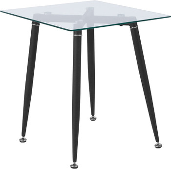 Chestnut Hill Collection Glass End Table with Sleek Matte Black Metal Legs
