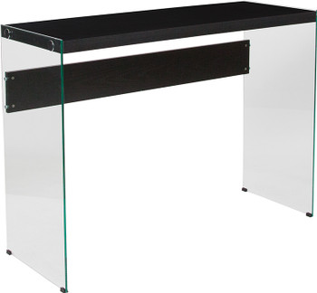 Highwood Collection Espresso Finish Console Table with Shelves and Glass Frame