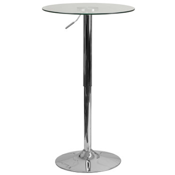 "23-1/2"" Round Adjustable Height Glass Table"
