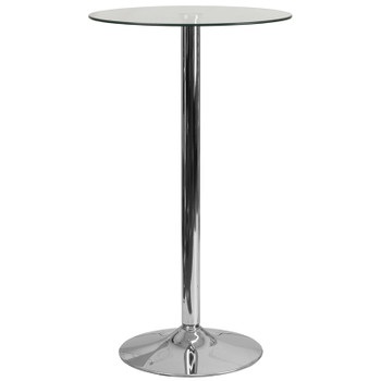 "23-3/4"" Round Glass Table with 41-3/4""H Chrome Base"