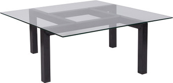 Overton Collection Glass Coffee Table with Black Wood Grain Finish Legs