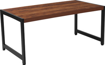 Grove Hill Collection Rustic Wood Grain Finish Coffee Table with Black Metal Frame