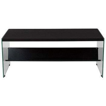 Highwood Collection Espresso Finish Coffee Table with Shelves and Glass Frame