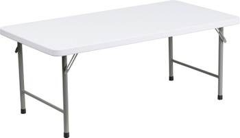 "24""W x 48""L x 19""H Kid's Granite White Plastic Folding Table"