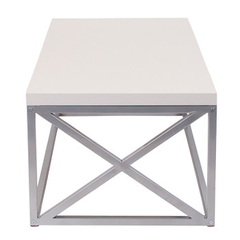 Park Ridge Cream Coffee Table with Silver Finish Frame