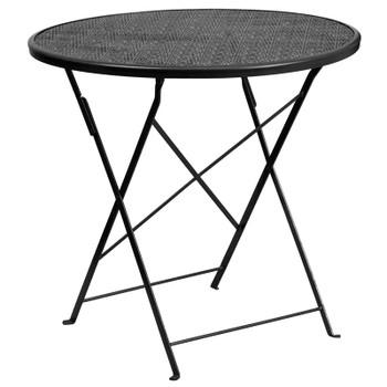 Round Indoor-Outdoor Steel Folding Patio Table