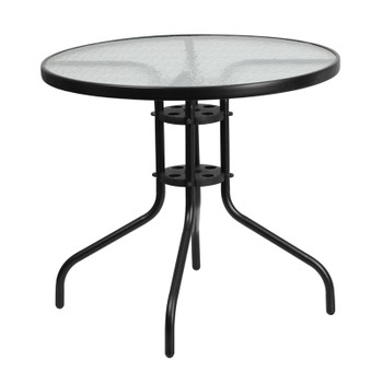 Round Tempered Glass Metal Table