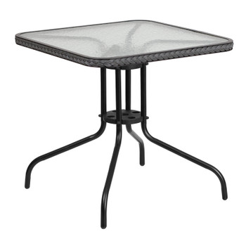 Square Tempered Glass Metal Rattan Edged Table