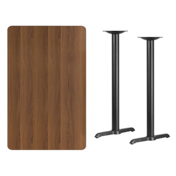 Rectangular Laminate Table Top with T-Shaped Table Bases