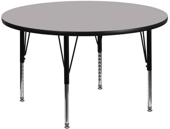 Round Thermal Laminate Activity Table with Short Height Adjustable Legs