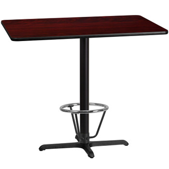 30'' x 48'' Rectangular Mahogany Laminate Table Top with 22'' x 30'' Bar Height Table Base and Foot Ring