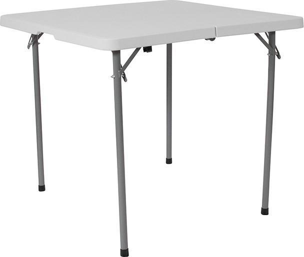 Square Bi-Fold Granite White Plastic Folding Table