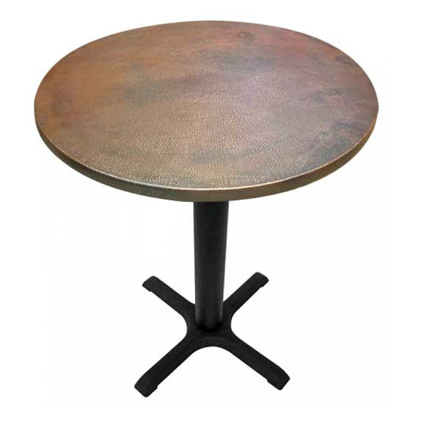 Round Copper Dining Table with Cast Iron X-Base