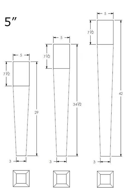4-sided Tapered Leg - 3 Heights