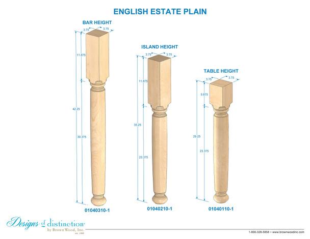 "35-1/4"" Estate Kitchen Island Table Leg"