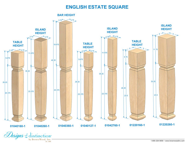 "35-1/4"" Estate Square Kitchen Table Leg - BW042760"