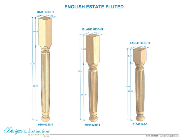 "35-1/4"" Estate Fluted Kitchen Table Leg"