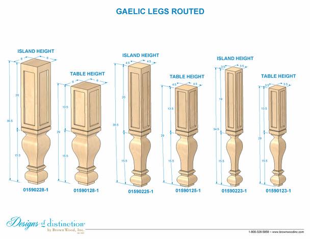 "35-1/2"" Gaelic Kitchen Island Routed Post Leg"