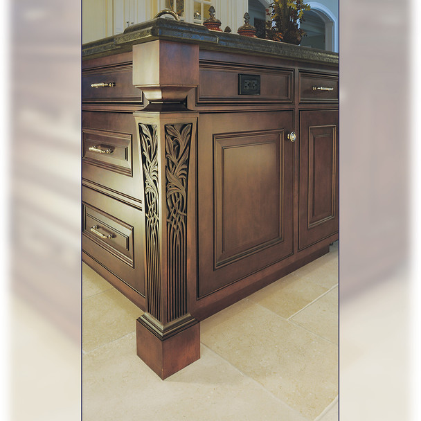 """35-1/4"""" Nouveau Carved Kitchen Table Leg"""