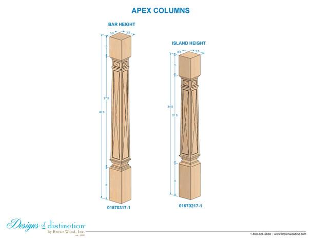 "34-1/2"" Apex Wood Kitchen Table Leg"