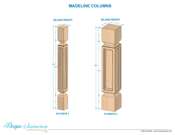 "35-1/2"" Madeline Kitchen Table Leg"