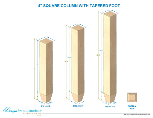 """35-1/4"""" x 4"""" Square Post with Tapered Foot"""