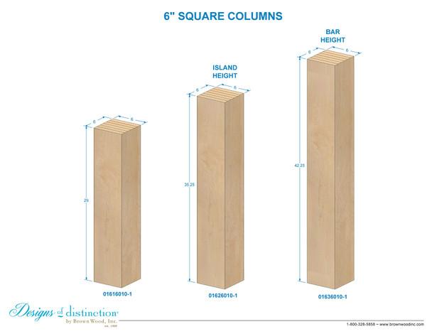 """35-1/4"""" x 6"""" Square Wood Post Leg"""