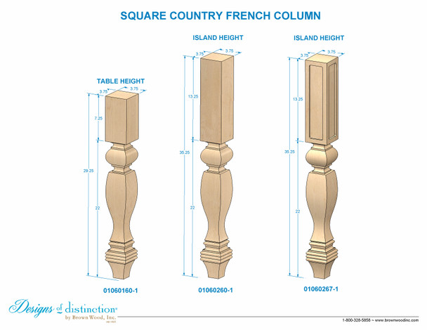 "35-1/4"" Country French Square & Routed Kitchen Island Leg"