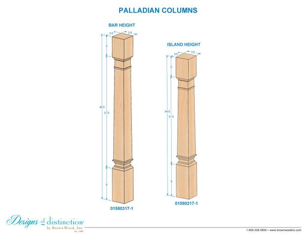 """34-1/2"""" Palladian Kitchen Island Table Leg"""
