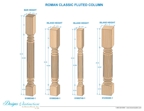 """35-1/4""""Roman Classic Fluted Dining Table Leg"""