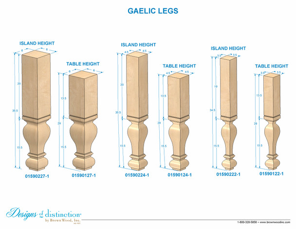 "35-1/2"" Gaelic Kitchen Island Post Leg"