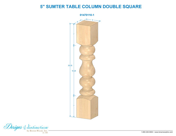 "29"" Sumter Double Square Table Leg"