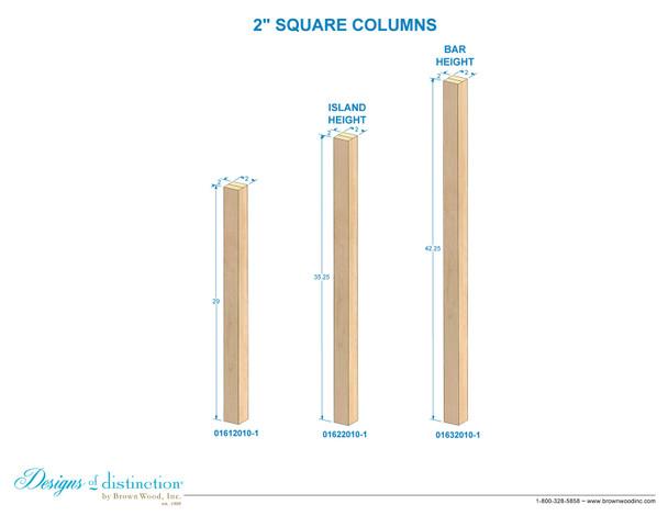 """29"""" x 2"""" Square Wood Table Leg"""