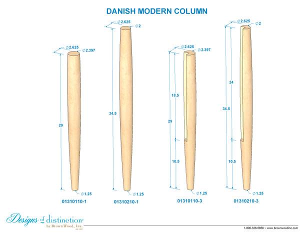 "29"" Danish Modern Post - Notched"