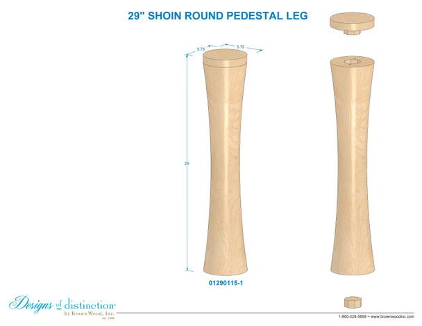 "29"" Shoin Round Post Leg"
