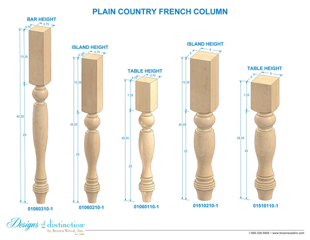 """29-1/4"""" Country French Dining Leg"""