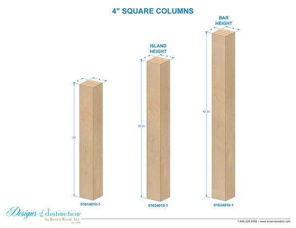 """29"""" x 4"""" Square Wood Post Leg"""