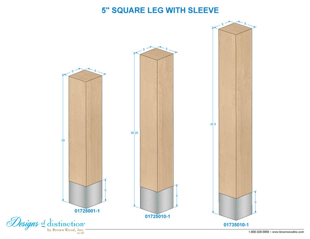 "29"" x 5"" Square Wood Legs with Metal Sleeves"