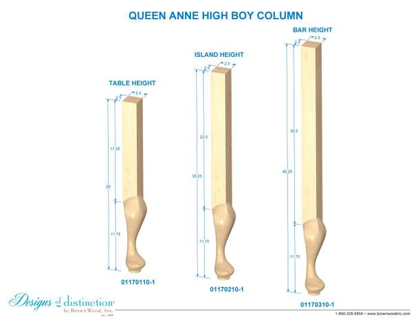 """42-1/4"""" Queen Anne High Boy - Corner Post"""