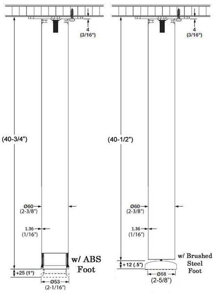 "40-3/4"" tall Bar Height Stainless Steel Leg, 2-3/8"" Dia."