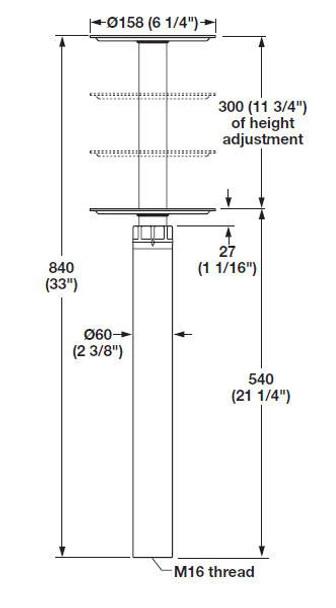 Bolt-Down Height Adjustable Table Leg