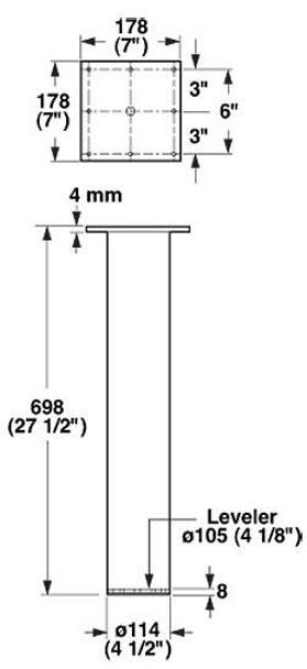 "4-1/2"" diameter Post Leg"